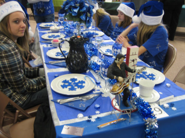 """Blue Christmas"" 2010 Holiday Happening table"